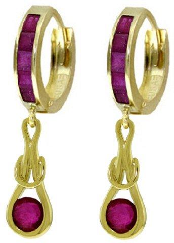 14K SOLID GOLD HUGGIE EARRINGS WITH 2.6 CT DANGLING RUBIES