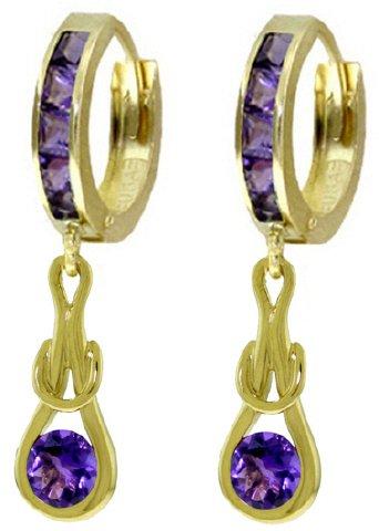 14K SOLID GOLD HUGGIE EARRINGS 2.15 CT DANGLING AMETHIST