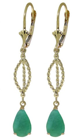 14K SOLID GOLD LEVERBACK EARRING 2 CT NATURAL EMERALD