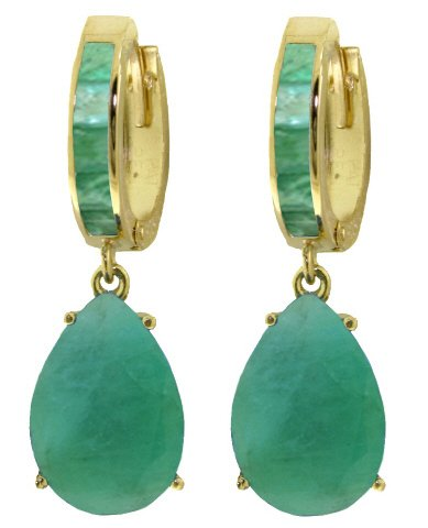14K GOLD HUGGIE EARRING WITH 8.3 CT DANGLING EMERALDS