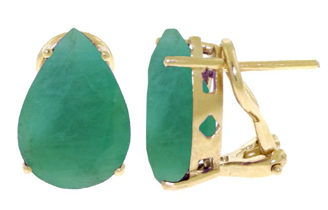 14K GOLD FRENCH CLIPS EARRING WITH 7 CT NATURAL EMERALDS