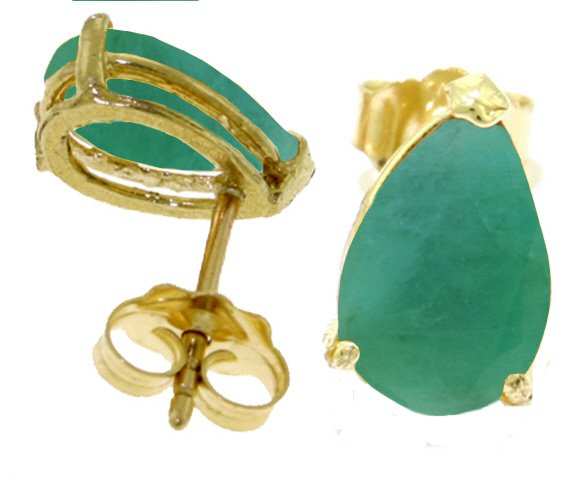14K SOLID GOLD STUD EARRING WITH 2 CT NATURAL EMERALDS