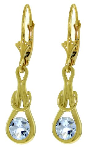 14K GOLD LEVER BACK EARRINGS WITH 1.3 CT NATURAL AQUAMARINES