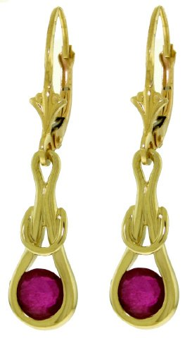 14K GOLD LEVER BACK EARRINGS WITH 1.3 CT NATURAL RUBIES