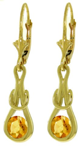 14K GOLD LEVER BACK EARRINGS WITH 1.3 CT NATURAL CITRINES