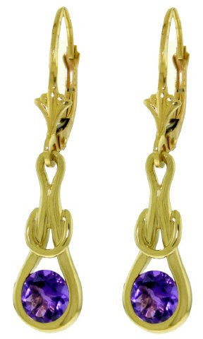 14K GOLD LEVER BACK EARRINGS WITH 1.3 CT NATURAL AMETHYST