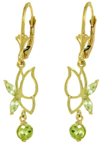 14K SOLID GOLD BUTTERFLY EARRING WITH 0.8 CT PERIDOTS