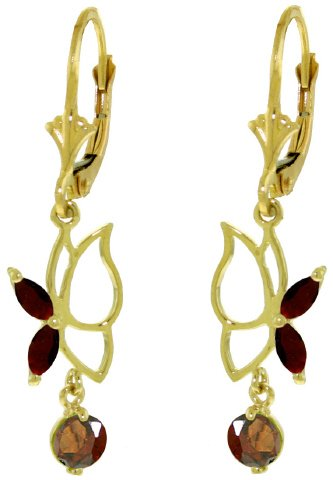 14K SOLID GOLD BUTTERFLY EARRING WITH 0.8 CT GARNETS