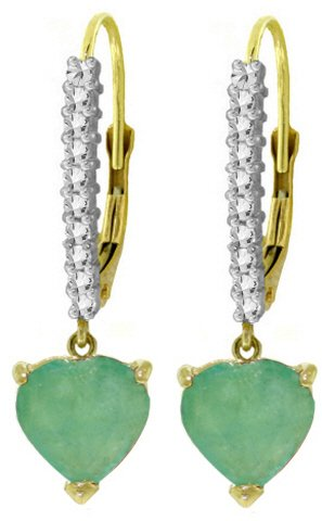 14K LEVER BACK EARRINGS W/NATURAL 2.7 CT DIAMONDS & EMERALDS