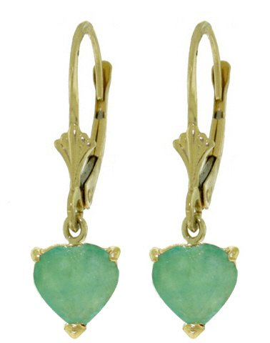 14K SOLID GOLD LEVERBACK EARRING WITH 2.4 CT NATURAL EMERALDS