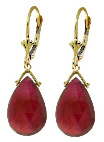 14K GOLD LEVERBACK EARRING WITH 16 CT BRIOLETTE RUBIES