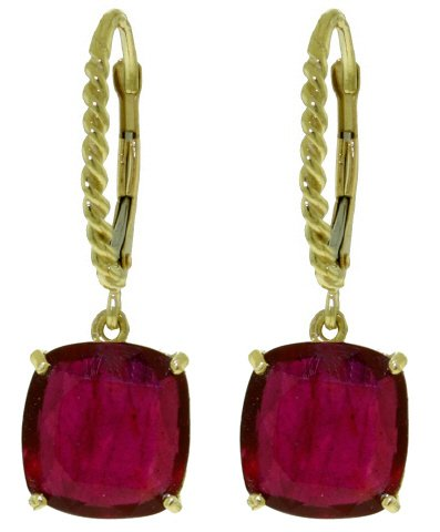 14K GOLD LEVERBACK EARRING WITH 9.4 CT NATURAL RUBIES