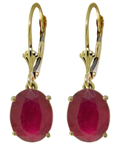 14K SOLID GOLD LEVERBACK EARRING WITH 7 CT NATURAL RUBIES