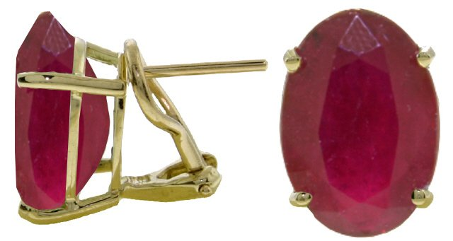 14K SOLID GOLD FRENCH CLIPS EARRING WITH 15 CT NATURAL RUBY