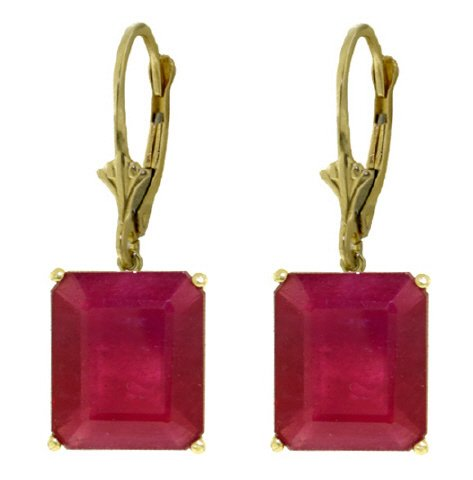 14K SOLID GOLD LEVER BACK EARRING WITH 15 CT RUBIES