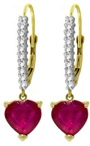 14K LEVER BACK EARRINGS 3.2 CT NATURAL DIAMONDS & RUBIES
