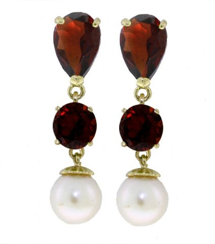 14K GOLD CHANDELIER EARRING WITH GARNETS & PEARLS