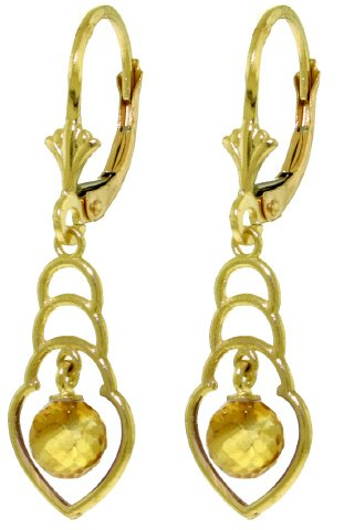 14K SOLID GOLD EARRINGS WITH 1.25 CT NATURAL CITRINES