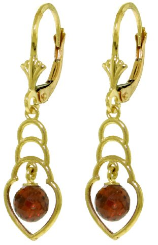 14K SOLID GOLD EARRINGS WITH 1.25 CT NATURAL GARNETS