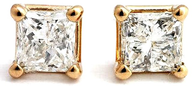 14K GOLD STUD EARRINGS WITH 1.0 CT NATURAL DIAMONDS