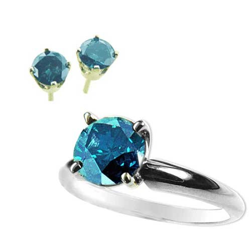 0.50 ct. Blue Diamond Ring and Earrings in 14k W/Y Gold
