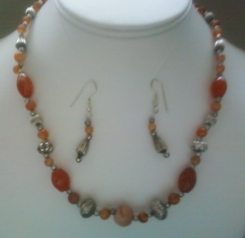 """17"""" Beautiful Agate & Silver Beads Necklace-Earring Set"""