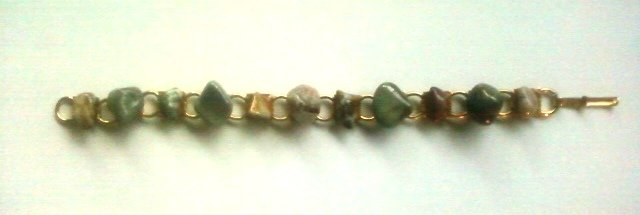 """Beautiful Gold Plated 7"""" Natural Agate Bracelet"""