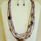 Multi Purple Murano Glass 6 Strand Necklace and Earrings Set