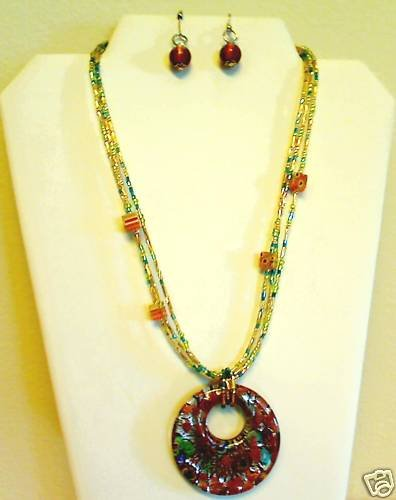 Multi Gold-Yellow Murano Glass 3 Strand Necklace and Earrings Set