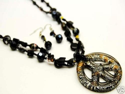 Black Peace Sign Murano Glass 2 Strand Necklace and Earrings Set