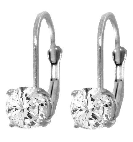 14K WHITE GOLD LEVERBACK EARRING  1.0 CT. DIAMONDS