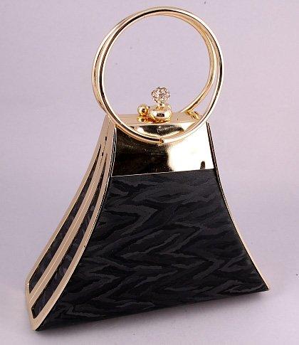 Modern Evening Bag-Metal Frame-Swarovski Crystal-Black