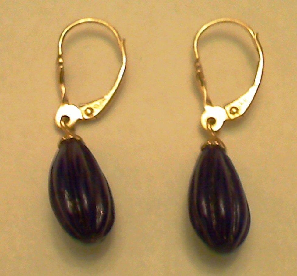 Estate Solid 14k Gold Lapis Lazuli Dangle Earrings