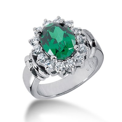 RARE 7.30 ct Oval Shape Emerald & Diamond 14k Gold Ring