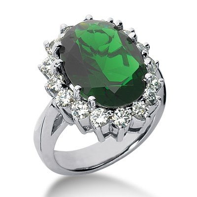 RARE 11.13 ct Oval Shape Emerald & Diamond 14k Gold Ring