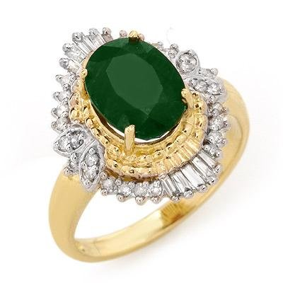 ACA Certified 2.58 ctw Emerald & Diamond Ring 14K Gold