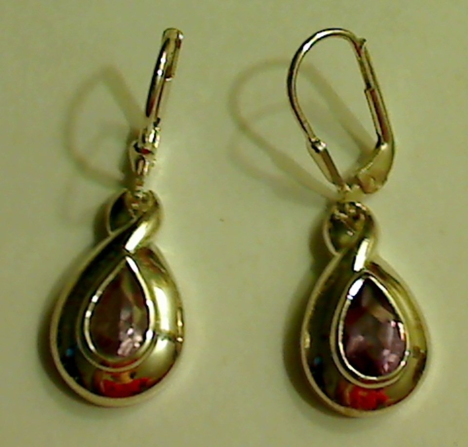 UNIQUE 925 Sterling Silver 2ct Amethyst Dangle Earrings