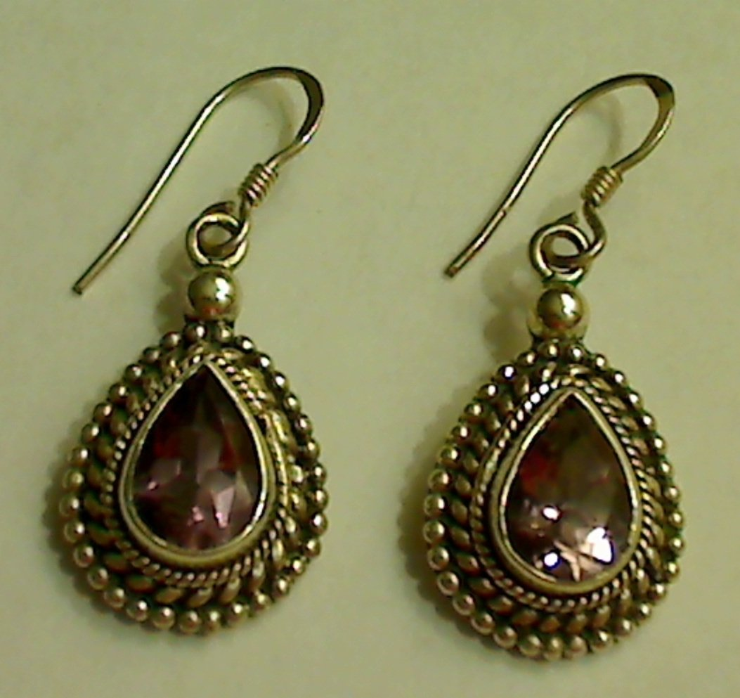 UNIQUE 925 Sterling Silver 6ct Amethyst Dangle Earrings