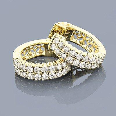 1.73 ct Diamond Hoop Earrings 14K Yellow Gold