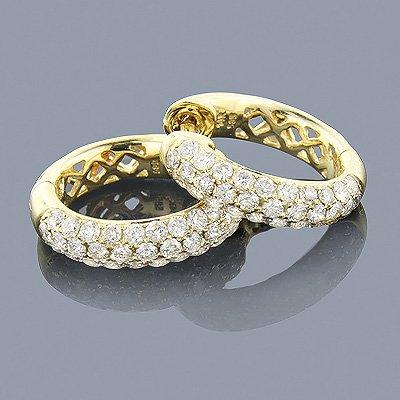 1.51 ctw Pave Diamond 14K Gold Hoop Earrings