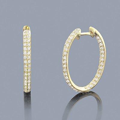 1.42 ct Inside Out Diamond Hoop Earrings 14K Gold