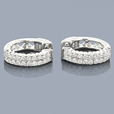 14K Gold 1.10 ctw Diamond Hoop Huggie Earrings