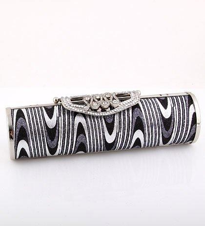Stunning Evening Clutch Bag Black-Silver Tone Swarovski Crystal