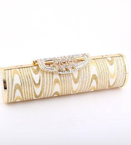 Stunning Evening Clutch Bag Gold Tone Swarovski Crystal