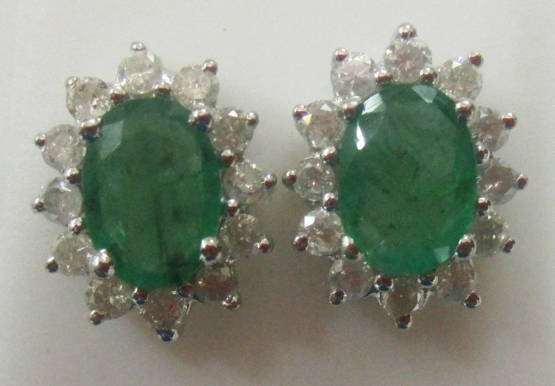 Stunning 2.48 ctw Emerald & Diamond Earrings 14k Yellow or White Gold