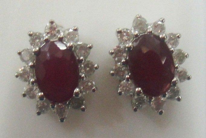 Stunning 2.48 ctw Ruby & Diamond Earrings 14k Yellow or White Gold