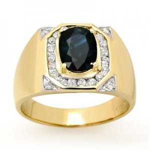 3.10 ctw Diamond & Sapphire 14K Yellow Gold Men's Ring