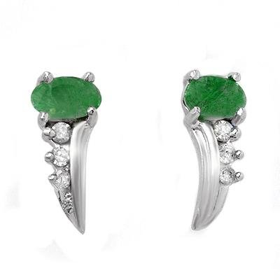 0.60 ctw Emerald & Diamond Earrings White Gold