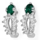 0.85 ctw Emerald & Diamond Earrings White Gold