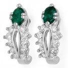0.85 ctw Emerald & Diamond Earrings White Gold